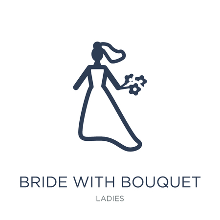 Bride with Bouquet icon. Trendy flat vector Bride with Bouquet icon on white background from Ladies collection, vector illustration can be use for web and mobile, eps10 Standard-Bild - 112229872