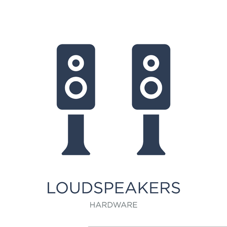 Loudspeakers icon. Trendy flat vector Loudspeakers icon on white background from hardware collection, vector illustration can be use for web and mobile, eps10