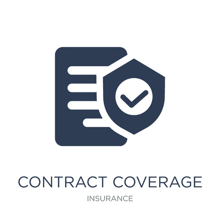 Contract Coverage icon. Trendy flat vector Contract Coverage icon on white background from Insurance collection, vector illustration can be use for web and mobile, eps10