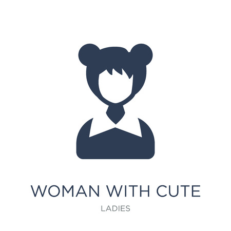 Woman with Cute Hairstyle icon. Trendy flat vector Woman with Cute Hairstyle icon on white background from Ladies collection, vector illustration can be use for web and mobile, eps10