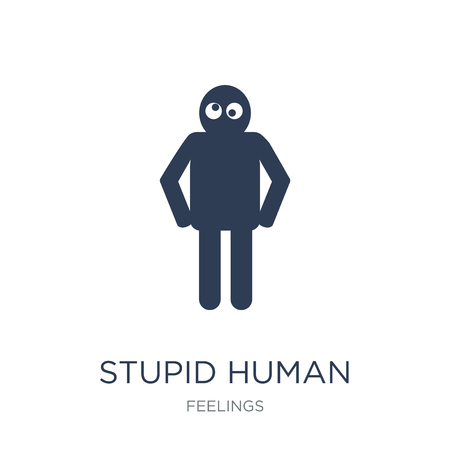 stupid human icon. Trendy flat vector stupid human icon on white background from Feelings collection, vector illustration can be use for web and mobile, eps10 Ilustrace