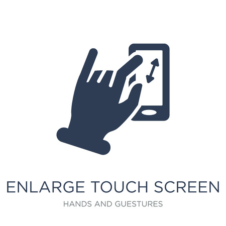 Enlarge touch screen gesture icon. Trendy flat vector Enlarge touch screen gesture icon on white background from Hands and guestures collection, vector illustration can be use for web and mobile, eps10 Archivio Fotografico - 112230092