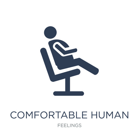 comfortable human icon. Trendy flat vector comfortable human icon on white background from Feelings collection, vector illustration can be use for web and mobile, eps10 Vetores
