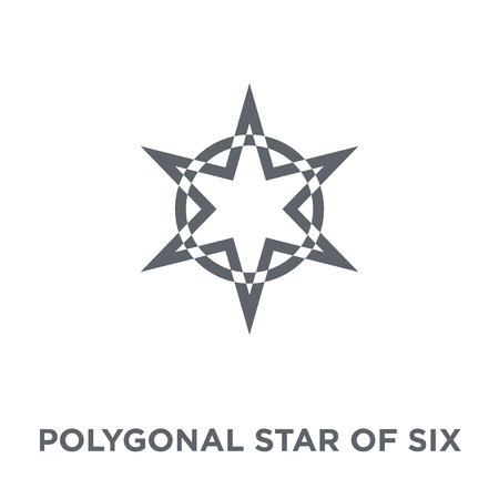 Polygonal star of six points icon. Polygonal star of six points design concept from Geometry collection. Simple element vector illustration on white background. Çizim