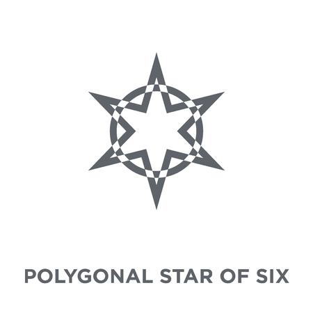 Stella poligonale di icona a sei punti. Stella poligonale del concetto di design a sei punti della collezione Geometry. Illustrazione vettoriale semplice elemento su sfondo bianco.