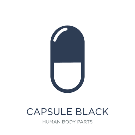 Capsule black and white variant icon. Trendy flat vector Capsule black and white variant icon on white background from Human Body Parts collection, vector illustration can be use for web and mobile, eps10 Foto de archivo - 112230125