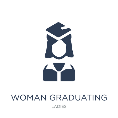 Woman Graduating icon. Trendy flat vector Woman Graduating icon on white background from Ladies collection, vector illustration can be use for web and mobile, eps10