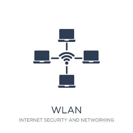 wlan icon. Trendy flat vector wlan icon on white background from Internet Security and Networking collection, vector illustration can be use for web and mobile, eps10 Banque d'images - 112230185