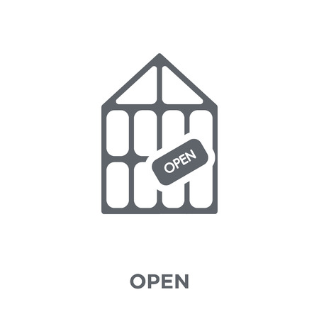 Open icon. Open design concept from Restaurant collection. Simple element vector illustration on white background.