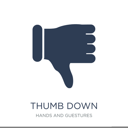 Thumb down icon. Trendy flat vector Thumb down icon on white background from Hands and guestures collection, vector illustration can be use for web and mobile, eps10