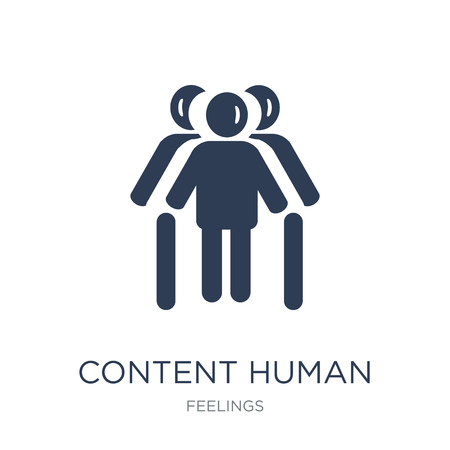 content human icon. Trendy flat vector content human icon on white background from Feelings collection, vector illustration can be use for web and mobile, eps10  イラスト・ベクター素材