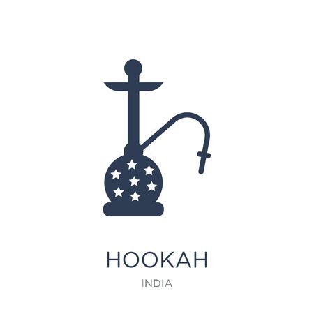 Shisha-Symbol. Trendiges flaches Vektor-Huka-Symbol auf weißem Hintergrund aus der indischen Sammlung, Vektorillustration kann für Web und Mobile verwendet werden, eps10 Vektorgrafik