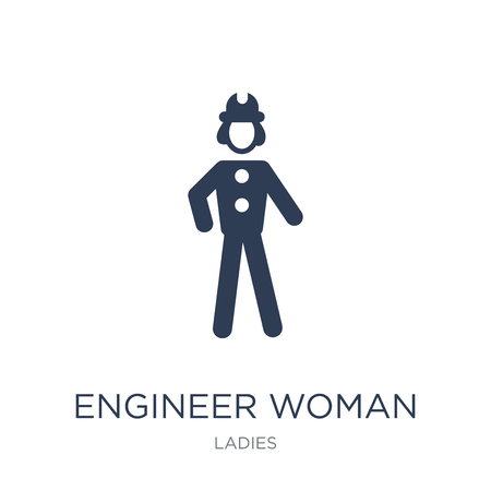 Engineer Woman icon. Trendy flat vector Engineer Woman icon on white background from Ladies collection, vector illustration can be use for web and mobile, eps10
