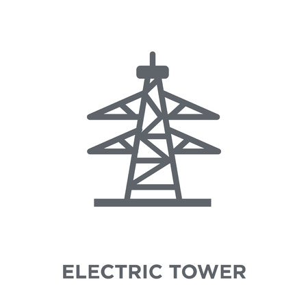 Icono de torre eléctrica. Concepto de diseño de torre eléctrica de colección. Ilustración de vector de elemento simple sobre fondo blanco.