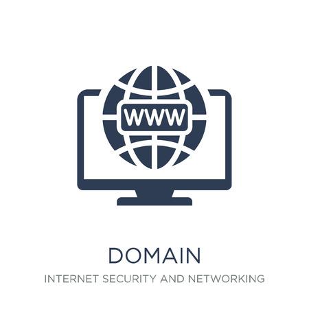 icona del dominio. Icona di dominio piatto vettoriale alla moda su priorità bassa bianca da Internet Security and Networking collection, illustrazione vettoriale può essere utilizzato per il web e mobile, eps10