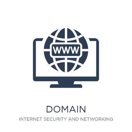domain icon. Trendy flat vector domain icon on white background from Internet Security and Networking collection, vector illustration can be use for web and mobile, eps10