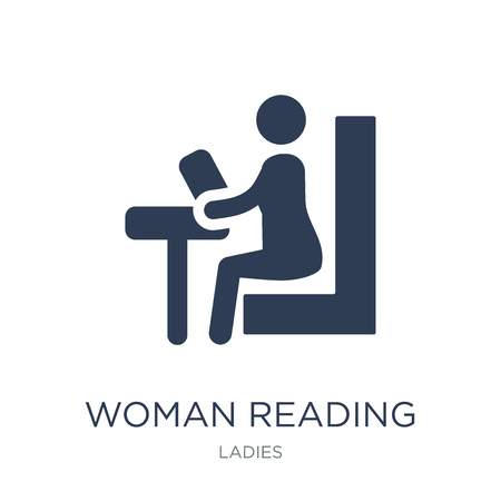 Woman Reading icon. Trendy flat vector Woman Reading icon on white background from Ladies collection, vector illustration can be use for web and mobile, eps10