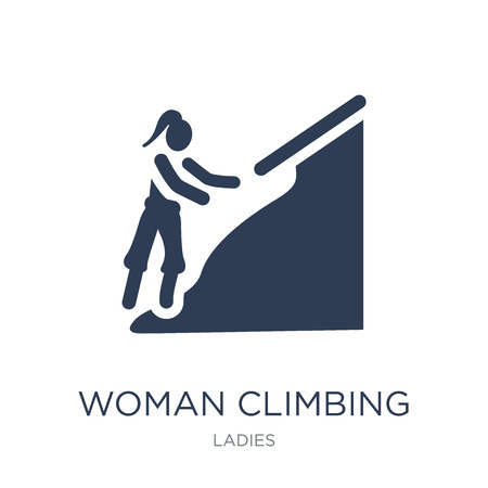 Woman Climbing icon. Trendy flat vector Woman Climbing icon on white background from Ladies collection, vector illustration can be use for web and mobile, eps10 Illustration