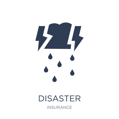Disaster icon. Trendy flat vector Disaster icon on white background from Insurance collection, vector illustration can be use for web and mobile, eps10  イラスト・ベクター素材