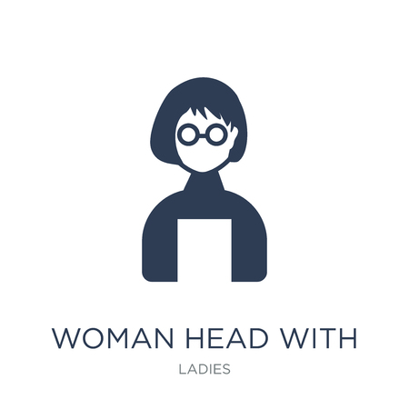Woman Head with Glasses icon. Trendy flat vector Woman Head with Glasses icon on white background from Ladies collection, vector illustration can be use for web and mobile, eps10 Illustration