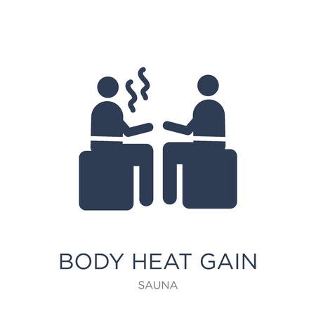 Body heat gain icon. Trendy flat vector Body heat gain icon on white background from sauna collection, vector illustration can be use for web and mobile, eps10 Çizim