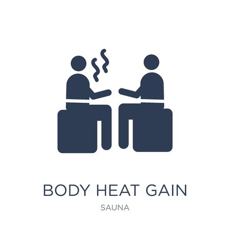 Icône de gain de chaleur corporelle. Icône de gain de chaleur corporelle vecteur plat sur fond blanc de la collection de sauna, illustration vectorielle peut être utilisé pour le web et mobile, eps10 Vecteurs