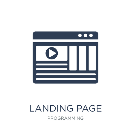 Landing page icon. Trendy flat vector Landing page icon on white background from Programming collection, vector illustration can be use for web and mobile, eps10 Stock Vector - 112231158