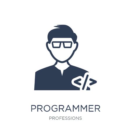 Icône de programmeur. Icône de programmeur vecteur plat sur fond blanc de la collection Professions, illustration vectorielle peut être utilisé pour le web et mobile, eps10