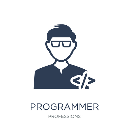 Programmer icon. Trendy flat vector Programmer icon on white background from Professions collection, vector illustration can be use for web and mobile, eps10 Çizim
