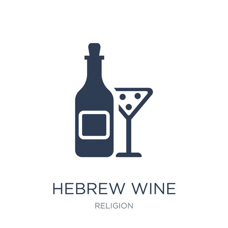 Hebrew Wine icon. Trendy flat vector Hebrew Wine icon on white background from Religion collection, vector illustration can be use for web and mobile, eps10