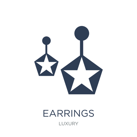 Earrings icon. Trendy flat vector Earrings icon on white background from Luxury collection, vector illustration can be use for web and mobile, eps10 Ilustração