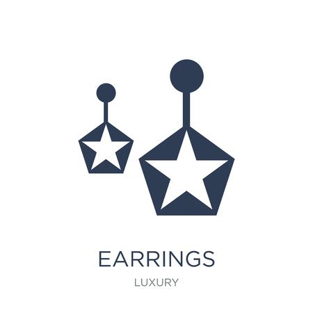 Icona di orecchini. Icona di orecchini piatto vettoriale su priorità bassa bianca da collezione di lusso, illustrazione vettoriale può essere utilizzato per il web e mobile, eps10