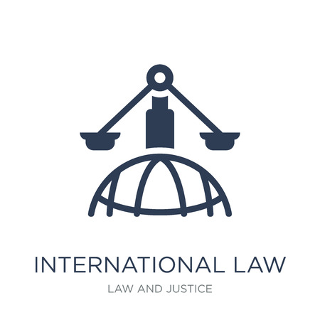 International law icon. Trendy flat vector International law icon on white background from law and justice collection, vector illustration can be use for web and mobile, eps10 Иллюстрация