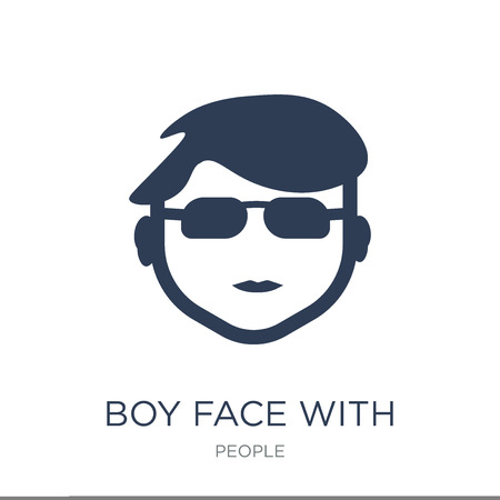 Boy face with glasses icon. Trendy flat vector Boy face with glasses icon on white background from People collection, vector illustration can be use for web and mobile, eps10