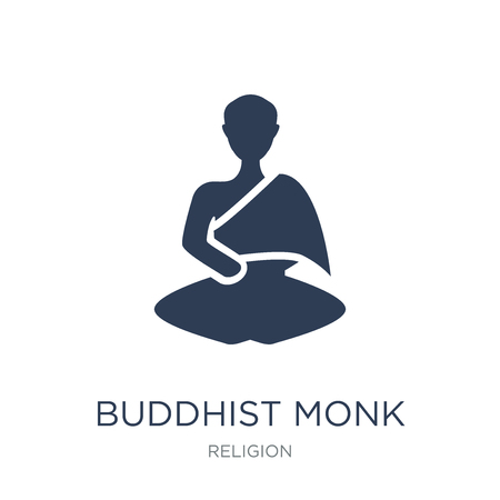 Buddhist monk icon. Trendy flat vector Buddhist monk icon on white background from Religion collection, vector illustration can be use for web and mobile, eps10  イラスト・ベクター素材
