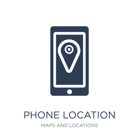 Phone Location icon. Trendy flat vector Phone Location icon on white background from Maps and Locations collection, vector illustration can be use for web and mobile, eps10 Çizim