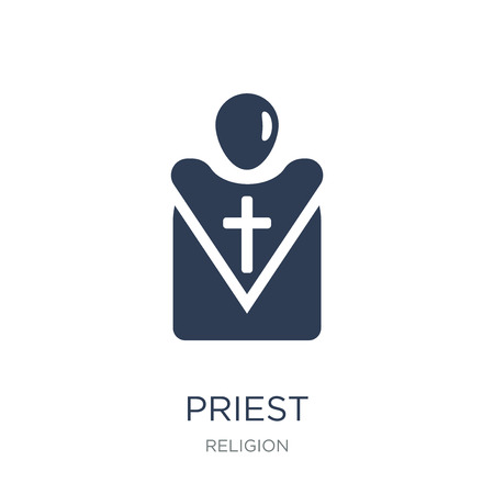 Priest icon. Trendy flat vector Priest icon on white background from Religion collection, vector illustration can be use for web and mobile, eps10 Illustration