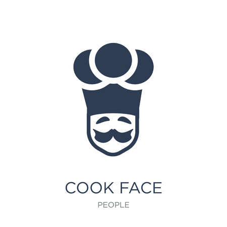 Cook face icon. Trendy flat vector Cook face icon on white background from People collection, vector illustration can be use for web and mobile, eps10
