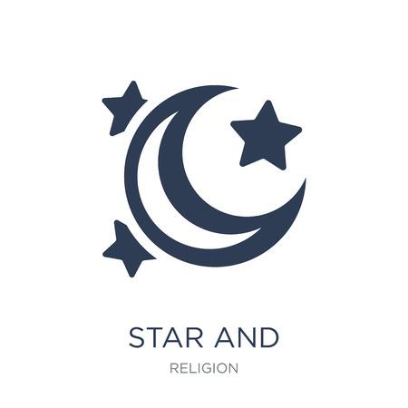 Icona della stella e della falce di luna. Icona di vettore piatto alla moda stella e mezzaluna su priorità bassa bianca da collezione religione, illustrazione vettoriale può essere utilizzato per il web e mobile, eps10 Vettoriali