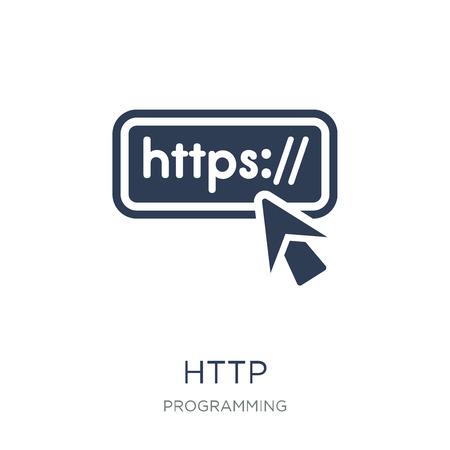 Icona HTTP. Icona di Http piatto vettoriale su priorità bassa bianca da collezione di programmazione, illustrazione vettoriale può essere utilizzato per il web e mobile, eps10 Vettoriali