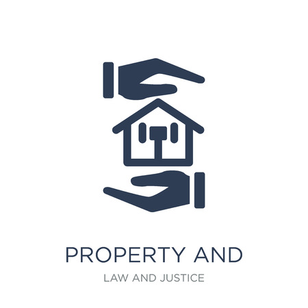 property and finance icon. Trendy flat vector property and finance icon on white background from law and justice collection, vector illustration can be use for web and mobile, eps10