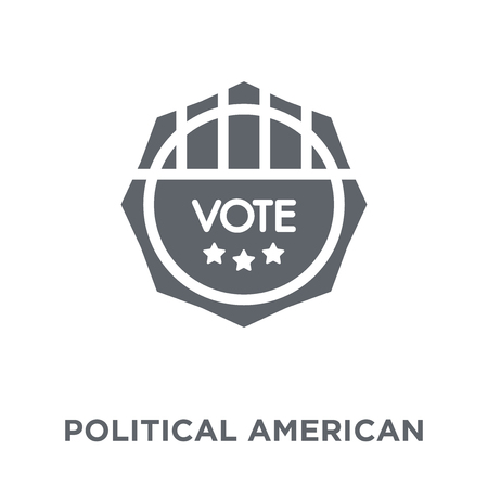 Political american elections publicity badge icon. Political american elections publicity badge design concept from Political collection. Simple element vector illustration on white background.