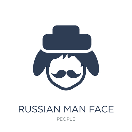 Russian man face icon. Trendy flat vector Russian man face icon on white background from People collection, vector illustration can be use for web and mobile, eps10