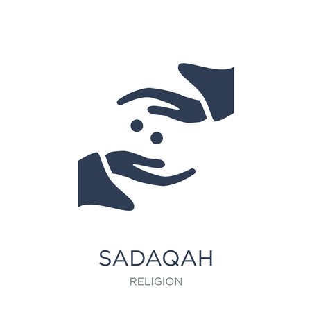 Sadaqah icon. Trendy flat vector Sadaqah icon on white background from Religion collection, vector illustration can be use for web and mobile, eps10 Ilustração