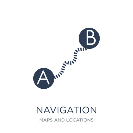 Navigation trajectory icon. Trendy flat vector Navigation trajectory icon on white background from Maps and Locations collection, vector illustration can be use for web and mobile, eps10 Ilustração