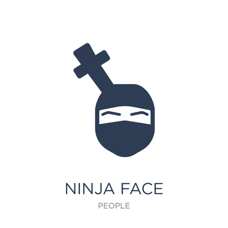 Ninja face icon. Trendy flat vector Ninja face icon on white background from People collection, vector illustration can be use for web and mobile, eps10 Illustration