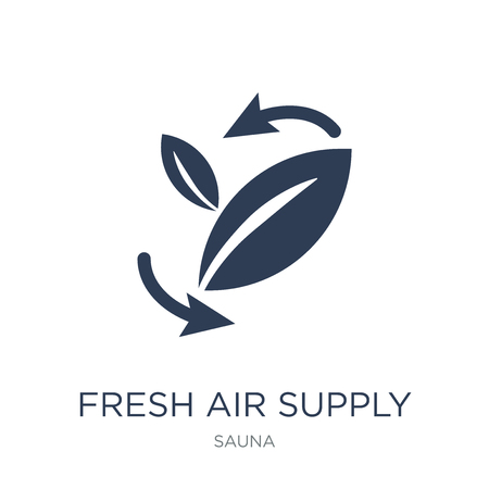 Fresh air supply icon. Trendy flat vector Fresh air supply icon on white background from sauna collection, vector illustration can be use for web and mobile, eps10 Foto de archivo - 112234095