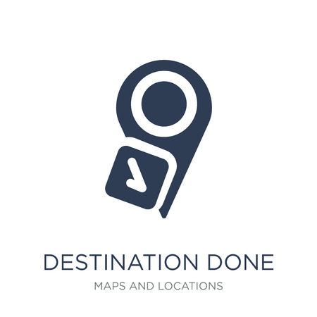 Destination done icon. Trendy flat vector Destination done icon on white background from Maps and Locations collection, vector illustration can be use for web and mobile, eps10 Ilustração