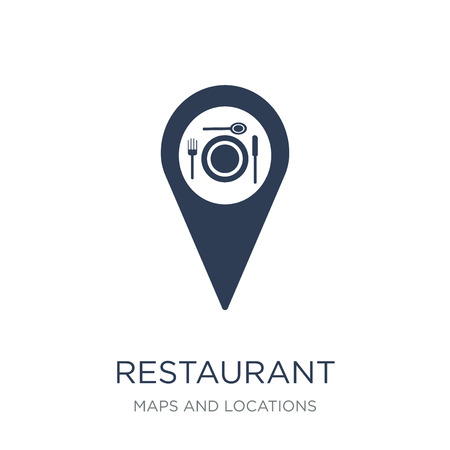 Restaurant Icon icon. Trendy flat vector Restaurant Icon icon on white background from Maps and Locations collection, vector illustration can be use for web and mobile, eps10 Imagens - 112235299