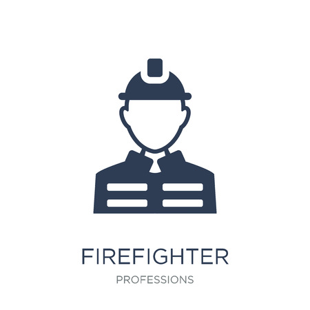 Firefighter icon. Trendy flat vector Firefighter icon on white background from Professions collection, vector illustration can be use for web and mobile, eps10 Banco de Imagens - 112235513